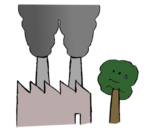 Ilustración: una fábrica con una enorme chimenea, contaminando