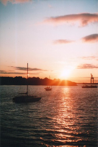yards sunset film clouds sailboat virginia minolta norfolk cranes shipping