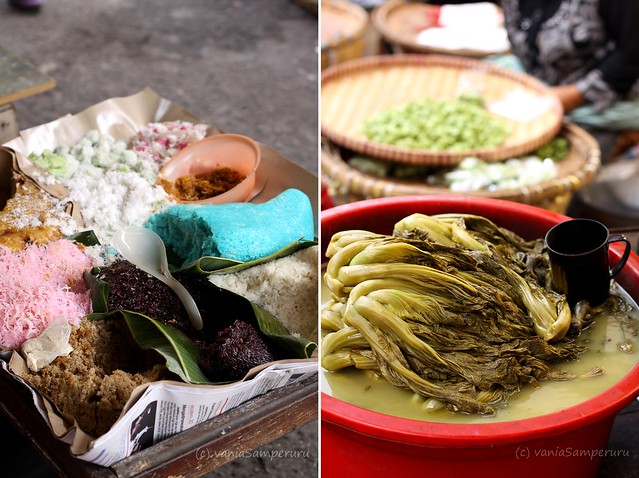 Ketan aneka rasa dan warna :) (L), Baikut a.k.a sayur asin or salty vegetable (R)