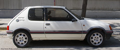 automobile, vehicle, city car, peugeot 205, land vehicle, hatchback,