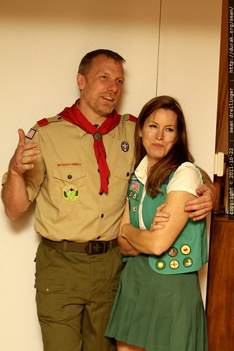 adult scoutmaster with girl scout    MG 5845
