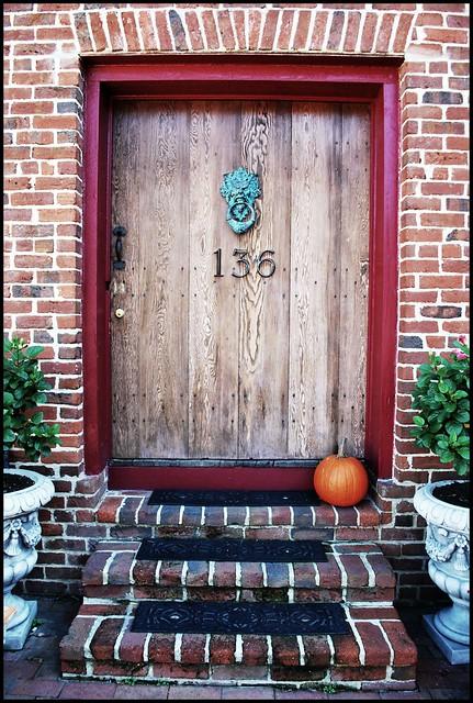 pumpkin and door knocker