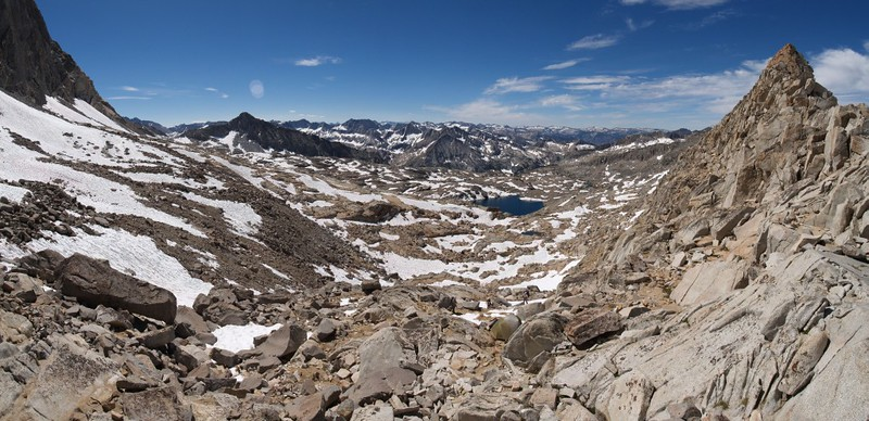 Looking south over Palisade Basin from Thunderbolt Pass