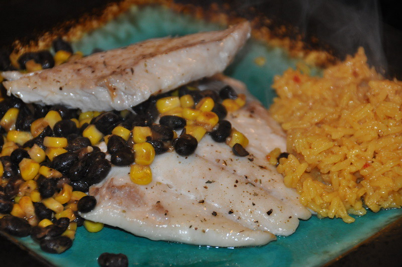 Triggerfish with Black Beans and Corn