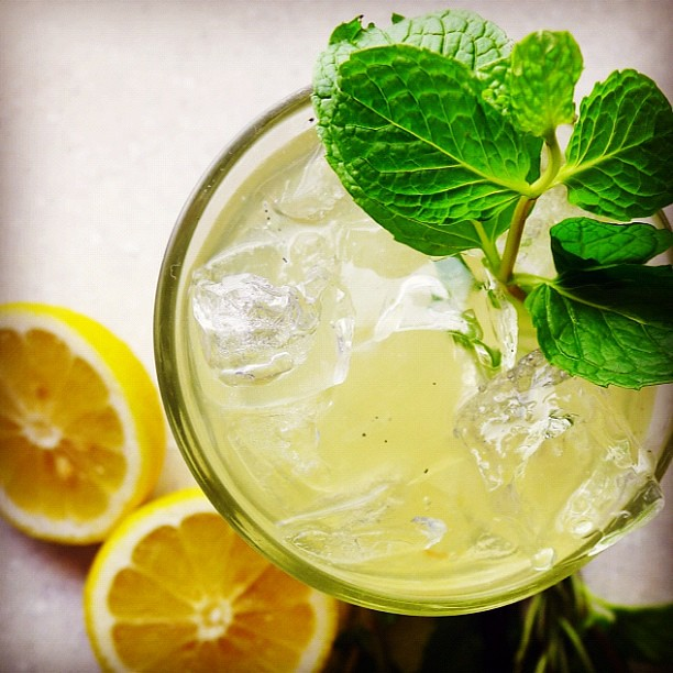 "Lemonade w/vanilla, mint+rosemary, recipe in @hughacheson's ""a new turn in the south"""