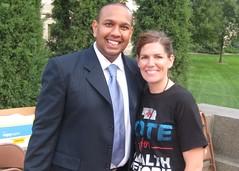 White House staffer Nick Rathod with Jane Kleeb