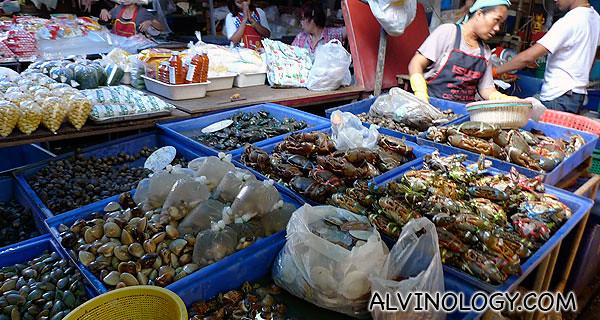 Fresh seafood stall