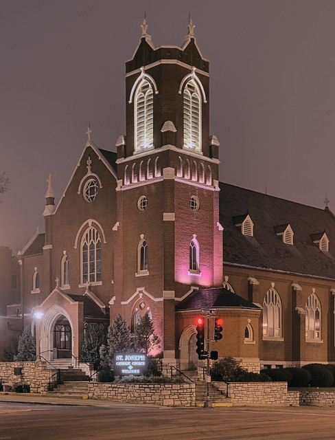 Saint Joseph Roman Catholic Church, in Clayton, Missouri, USA - exterior view at night