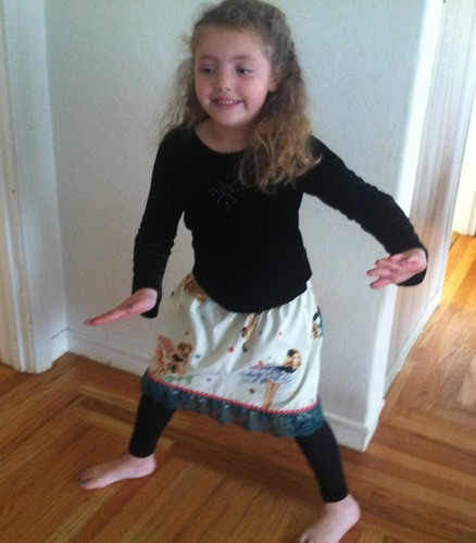 Maia dances in the party girl skirt I made.