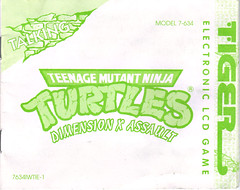 "TIGER ELECTRONICS :: ""TEENAGE MUTANT NINJA TURTLES: DIMENSION-X ASSAULT"" 'TALKING' ELECTRONIC LCD GAME ..INSTRUCTION MANUAL (( 1995 ))"