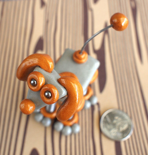 Mini Robot Dog Sculpture Silver Gold Sal by HerArtSheLoves