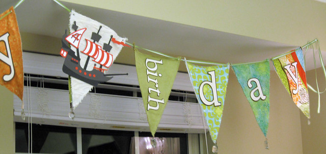 Pirate Ship 4th Birthday Banner - web