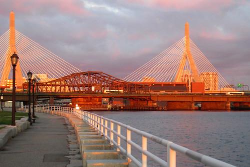 bridge light sky boston clouds sunrise charlesriver northend zakim northwashingtonstreetbridge