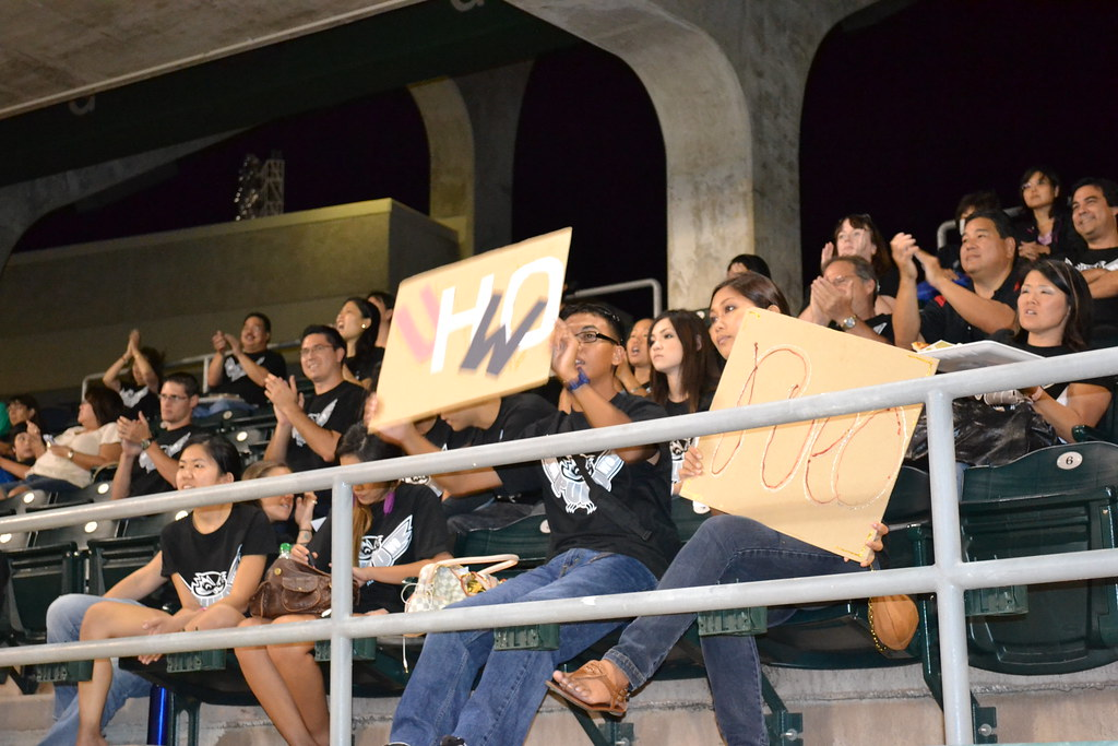 <p>UH West O'ahu had a large and spirited support group at the UH AUW Softball Tourment at Les Murakami Stadium on Sept. 30, 2011</p>