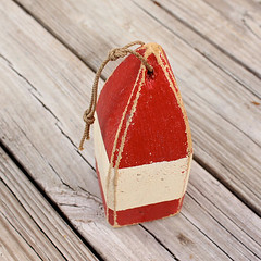 Lobster Buoy Red Beach Decor Vintage Nautical Wooden by SEASTYLE
