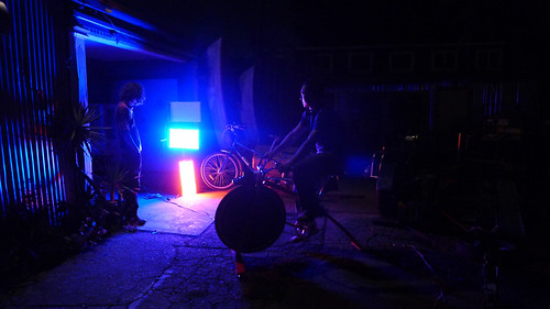 Testing sLEDgehammer circuit by powering Rock The Bike's Stage Lighting Panels