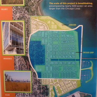 Graphic graphic showing the size of the Chicago Lakeside Development