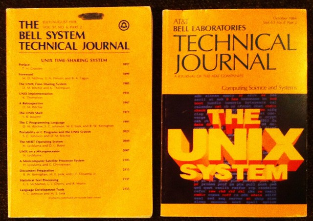 Unix issues of the Bell System Technical Journal