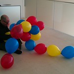 Jason Haas attaching balloons