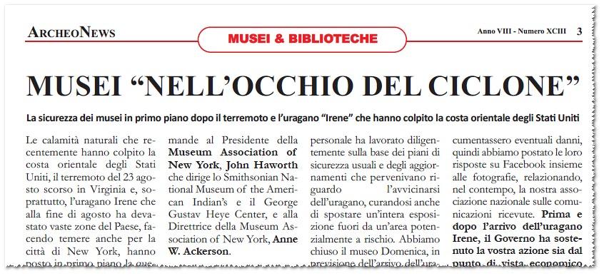 """MUSEI """"NELL'OCCHIO DEL CICLONE,"""" Di Caterina Pisu e Antony Wakefield. ARCHEONEWS. Anno VIII - Numero XCIII 3 (Ottobre 2011)."""