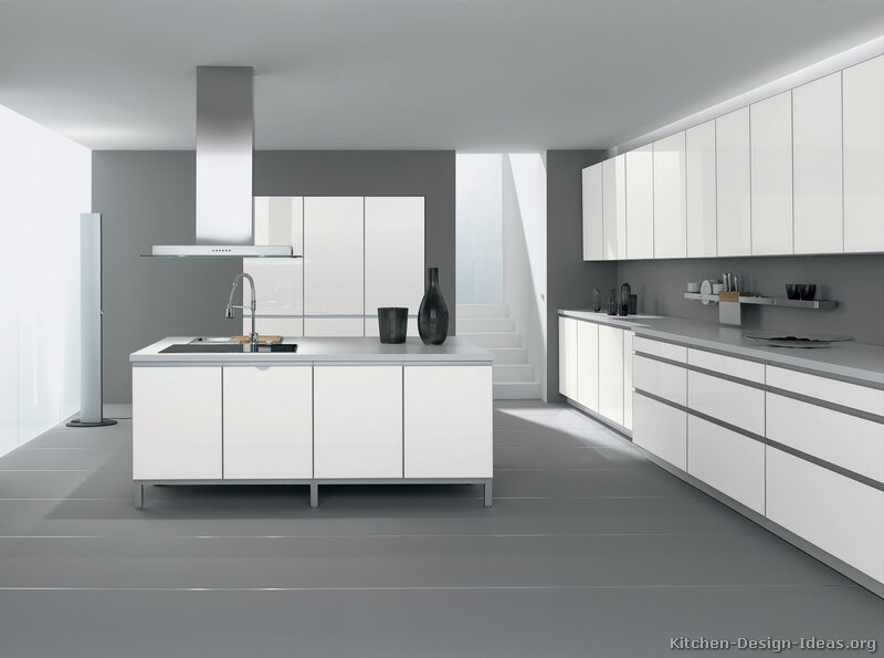 Kitchen cabinets modern white 056 a042a gray walls floor for Grey white kitchen ideas