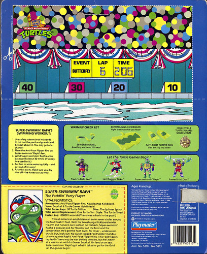 """TURTLE GAMES"" TEENAGE MUTANT NINJA TURTLES :: SUPER-SWIMMIN' RAPH .. card backer ii (( 1992 ))"
