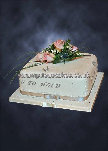 Wedding Cake 801 Silver Wording Fresh Flowers