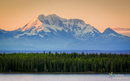 Wrangell St.Ellias Range in Alaska During Sunet