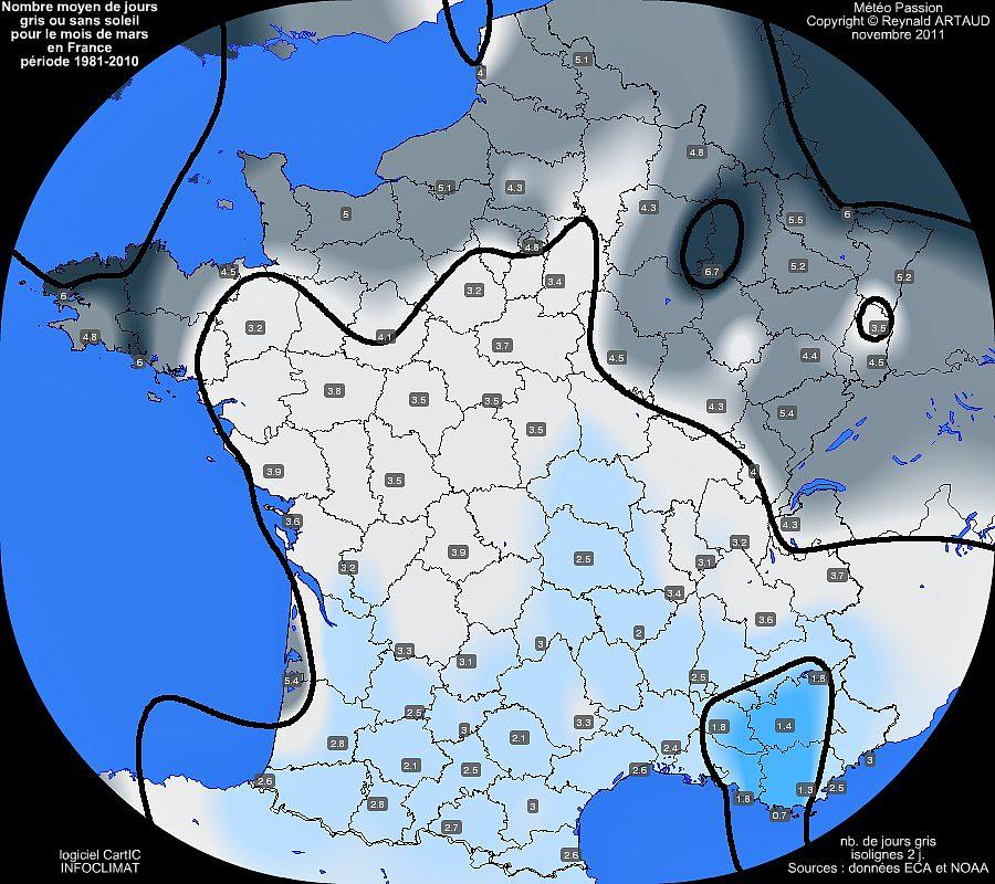 nombre moyen mensuel de jours gris ou sans soleil pour le mois de mars en France sur la période 1981-2010
