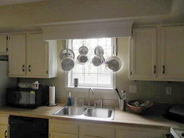 Before The Pot Rack Was Completed Wood Board That Spans Between Both Cabinets Did Not Exist Kitchen Are Just Stock
