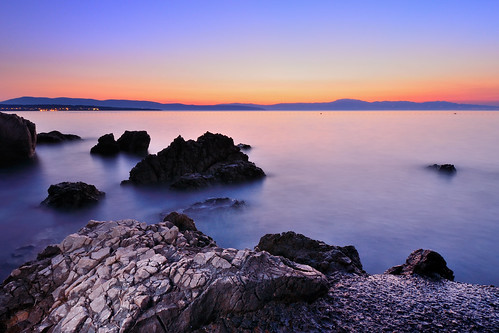 sunset sea rock landscape long exposure croatia adriatic sabin malinska usabin iardan