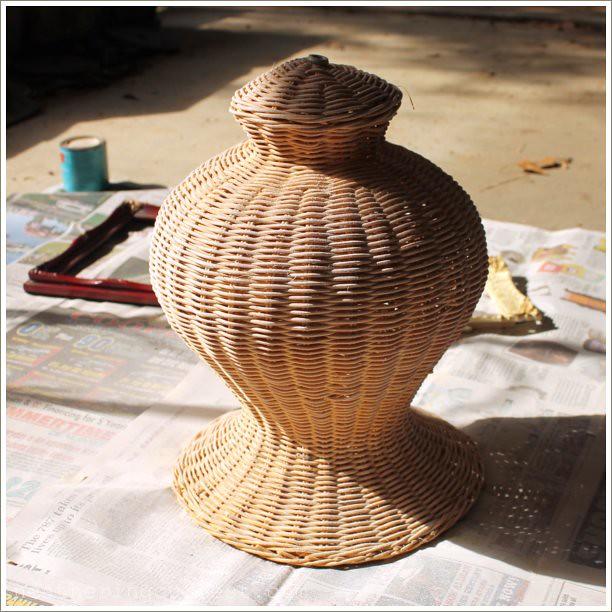 wicker lamp - before