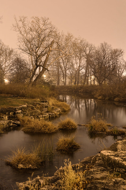 Forest Park, in Saint Louis, Missouri, USA - river at night in fog