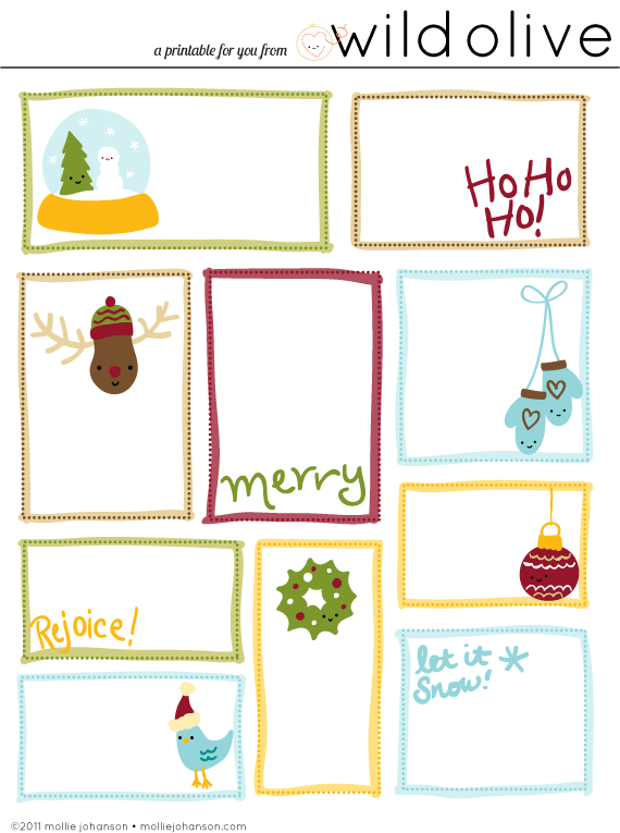 Tactueux image with printable gift tags christmas