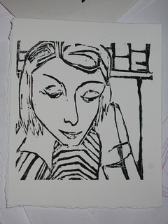 Roxanne Reading - original woodblock print