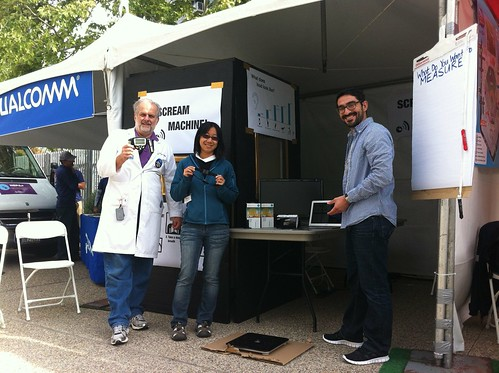 Tom Munnecke, Jun Axup, and Ernesto Ramerez at the Quantified Self Booth at the San DIego Science Festival