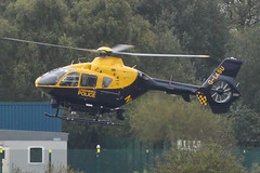 G-LASU - 2002 build Eurocopter EC135-T2, departing the Greater Manchester Police ASU