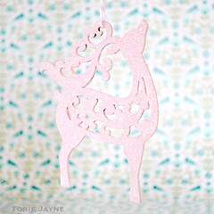 Hand painted and glittered pink reindeer