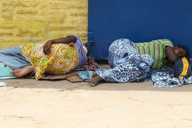 Sleeping women on the streets in Accra, Ghana.