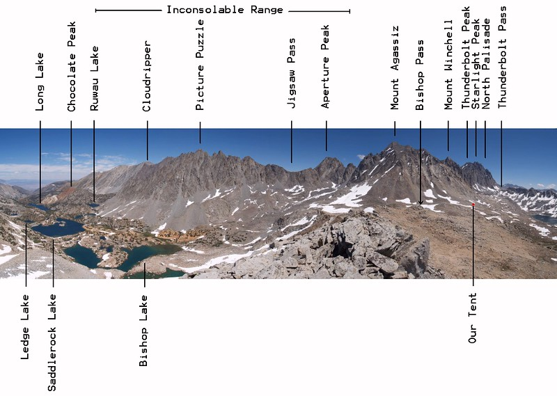 Annotated panorama of Bishop Creek, the Inconsolable Range and the Palisade Crest