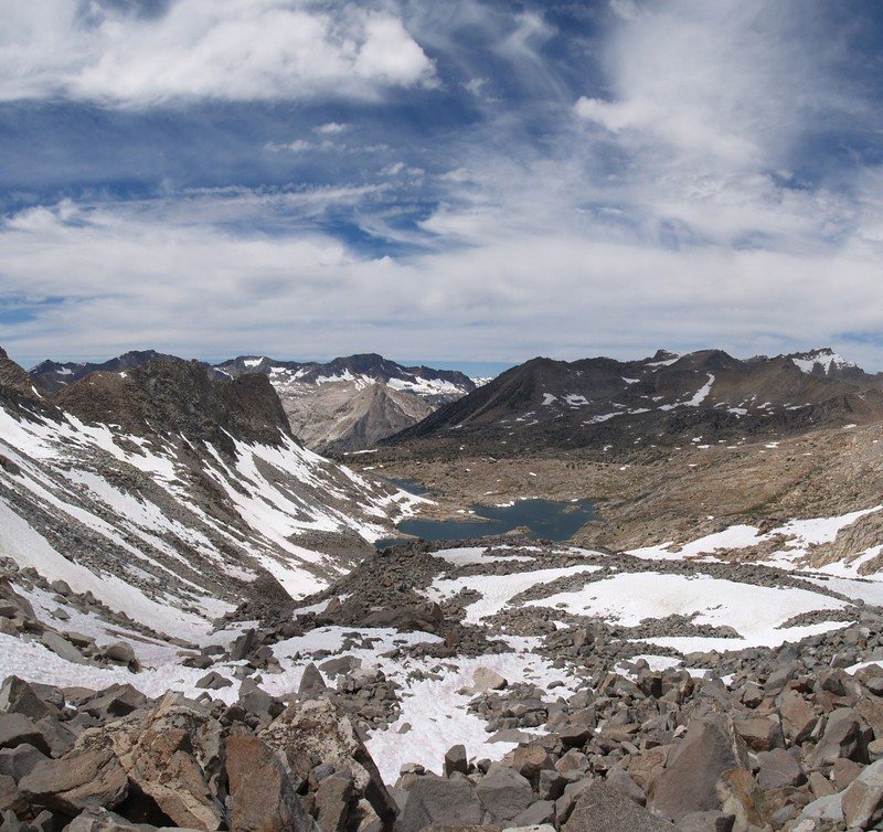 Dusy Basin panorama from Thunderbolt Pass