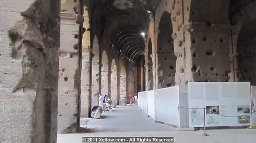 Rome - The Metro C Archaeological Surveys / Colosseum Valley (2006-11): Roma, corridoio del primo anello del Colosseo: pannello esplicativo della Valle del Colosseo prima dei Flavi. La fotografia dello scavo vero, allora in corso fatta da: Dott.ssa Faro.
