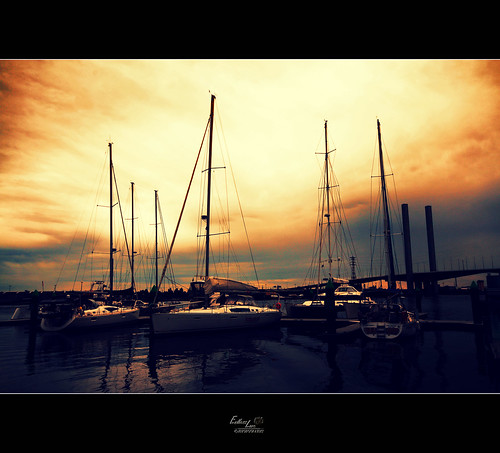 Boats in Docklands at sunset 1