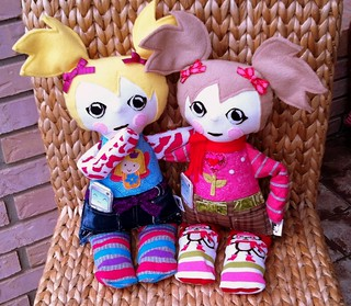 "Sydney and Jennie ""Tattered Teens"" doll made from fleece and fabric"