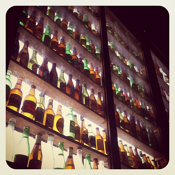 part of the 2 500 beer bottle collection on display at der