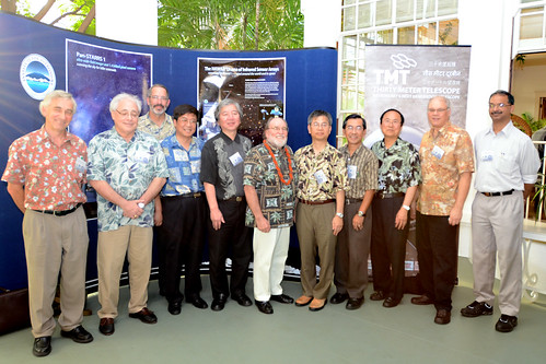 <p>Ricard Ellis, CIT; Gary Sanders, TMT; Mike Bolte, UC; Suijian Xue, Chinese Academy of Sciences; Shoken Miyama, National Astronomical Observatory of Japan; Hawaiʻi Governor Neil Abercrombie; Hideki Takami and Masanori Iye, National Astronomical Observatory of Japan; Henry Yang, UC Santa Barbara; Ray Carlberg, University of Toronto; A. N. Ramaprakash, University of Pune.</p>