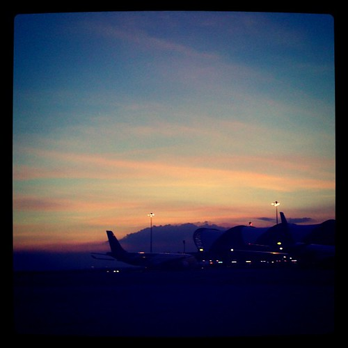 Suvarnabhumi sunset. Waiting for Sec. Clinton to arrive from the Philippines.
