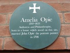 Photo of Amelia Opie green plaque