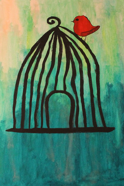 Kelly's bird and cage painting