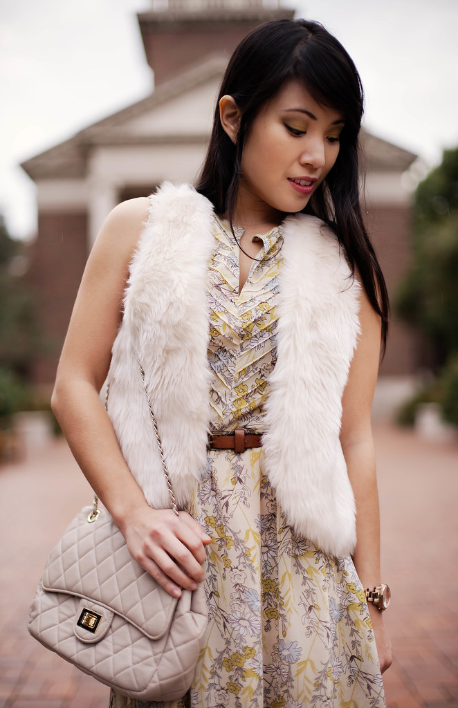 forever 21 sleeveless yellow dress, jcpenney olsenboye faux fur vest, yesstyle beige quilted flap purse, charlotte russe suede cuffed ankle boots, michael kors rose gold small runway watch mk5430, agaci brown skinny belt